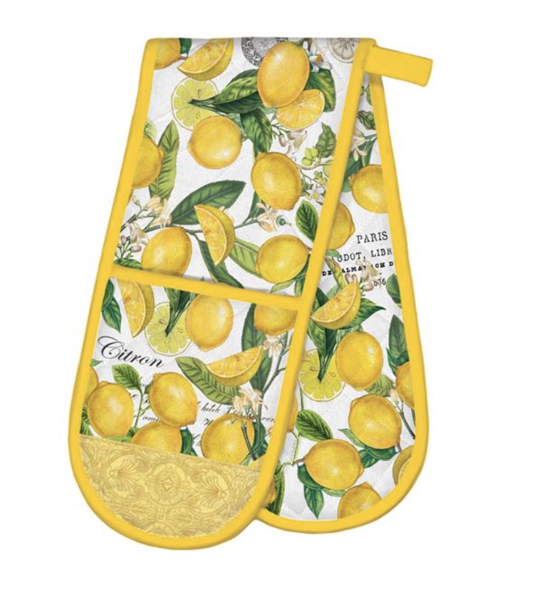 Michel Design Double Oven Mitt: Lemon Basil