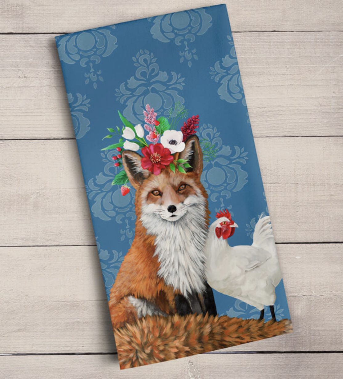 Fox & Rooster on Blue: Tea Towel
