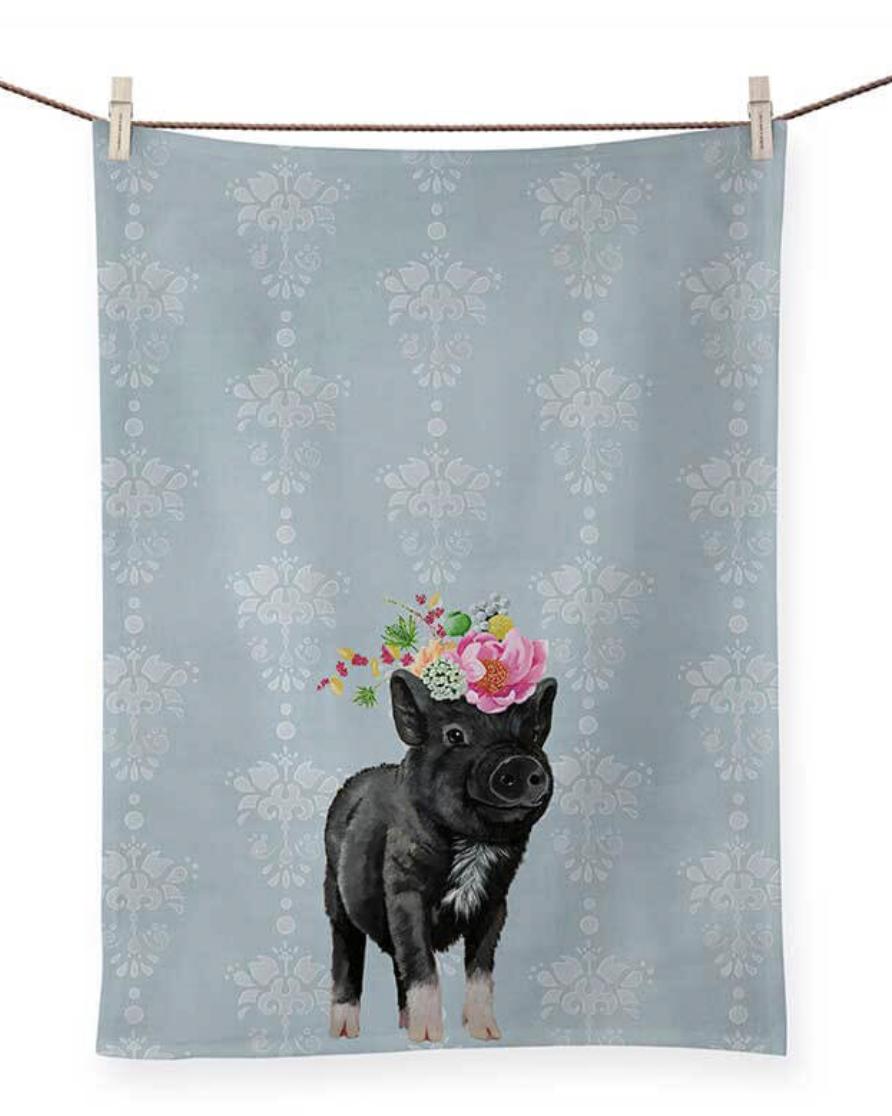 Showing Off Piggie: Tea Towel