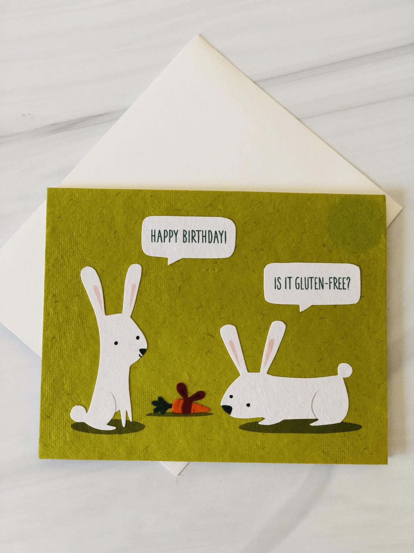 """HBD Gluten-Free"" Bunnies, Blank Greeting Card"
