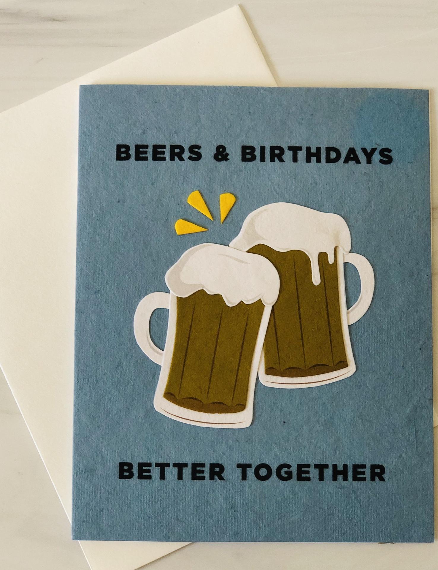 """""""Beers & Birthdays,"""" Blank Birthday Card"""