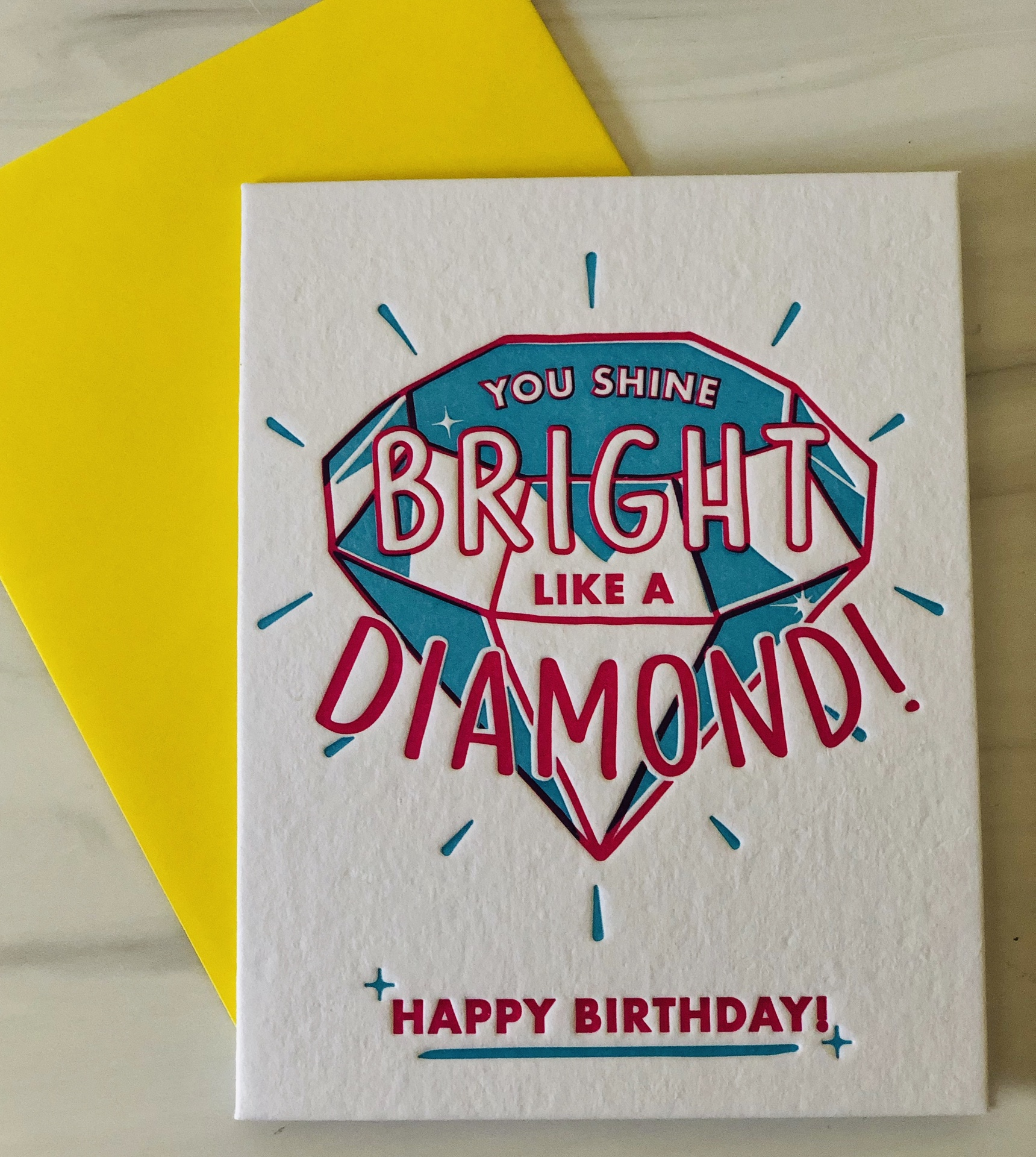 """Shine Bright,"" HBD Blank Greeting Card"