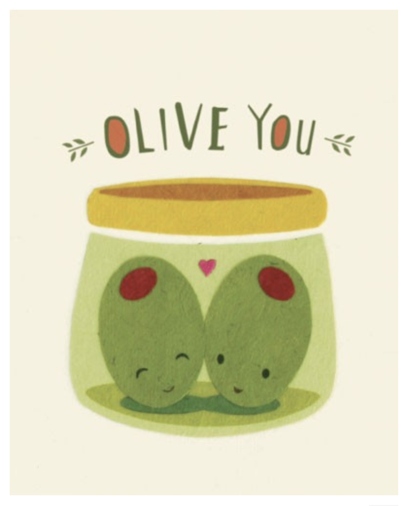 """""""Olive You,"""" Blank Greeting Card"""