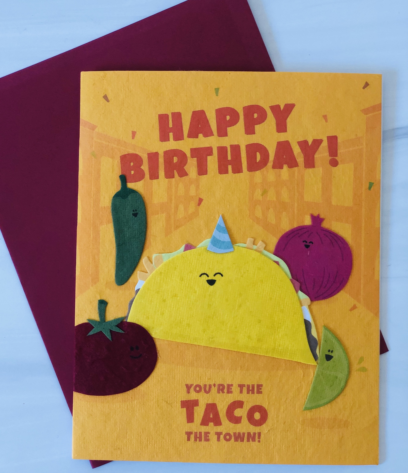 """HBD Taco,"" Blank Greeting Card"