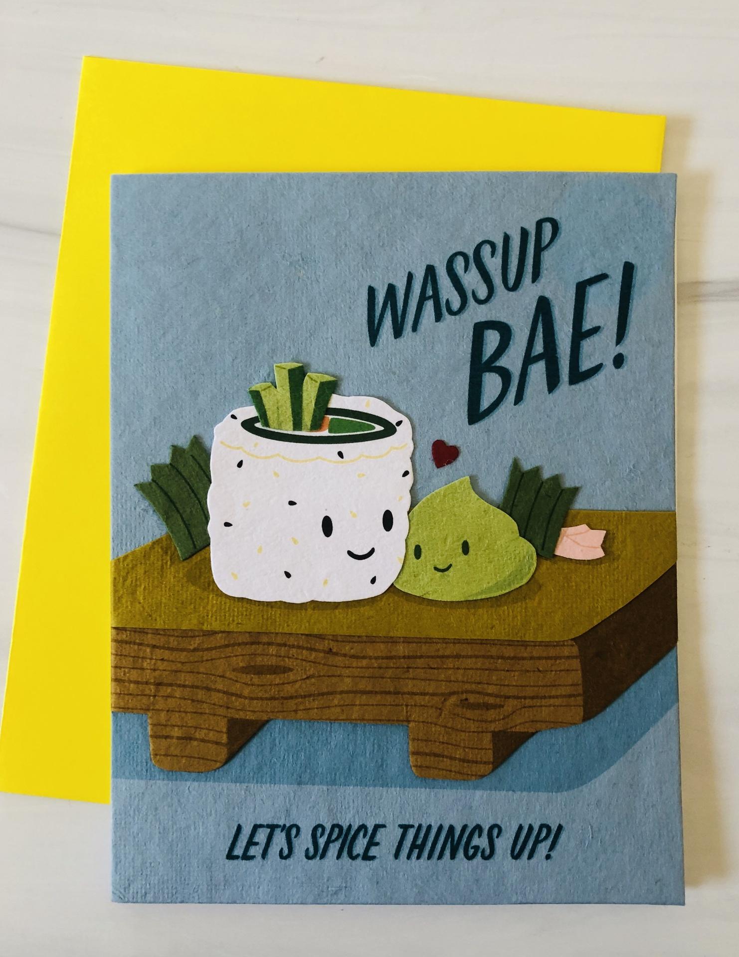 """""""Wassup-Bae,"""" Blank Greeting Card"""