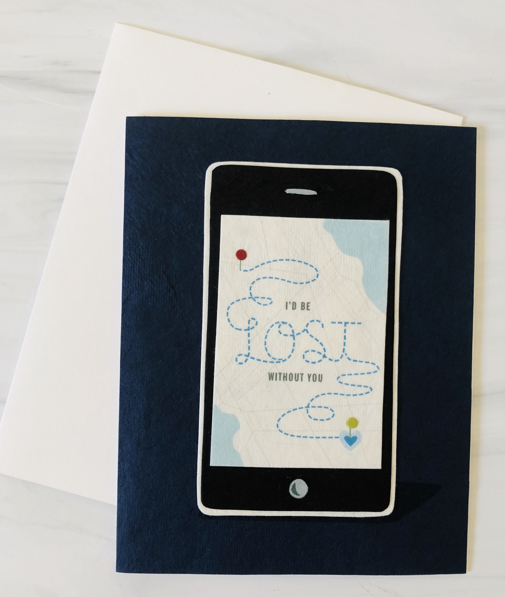 Map App Lost, Blank Greeting Card