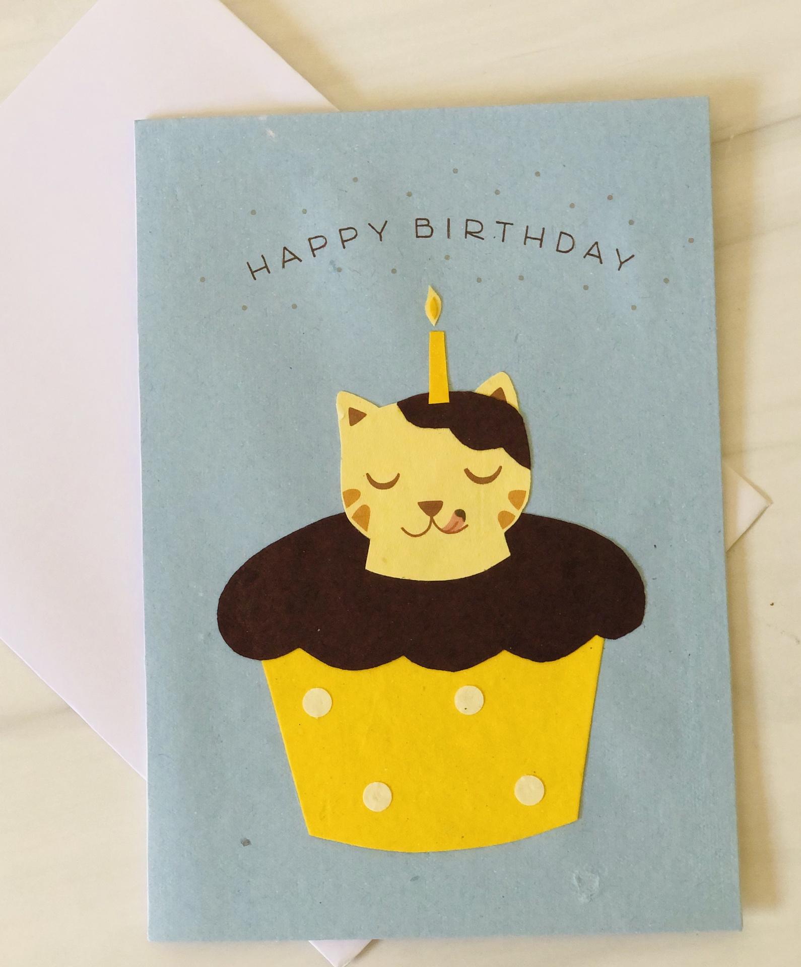 Cat-Cake, Blank Greeting Card