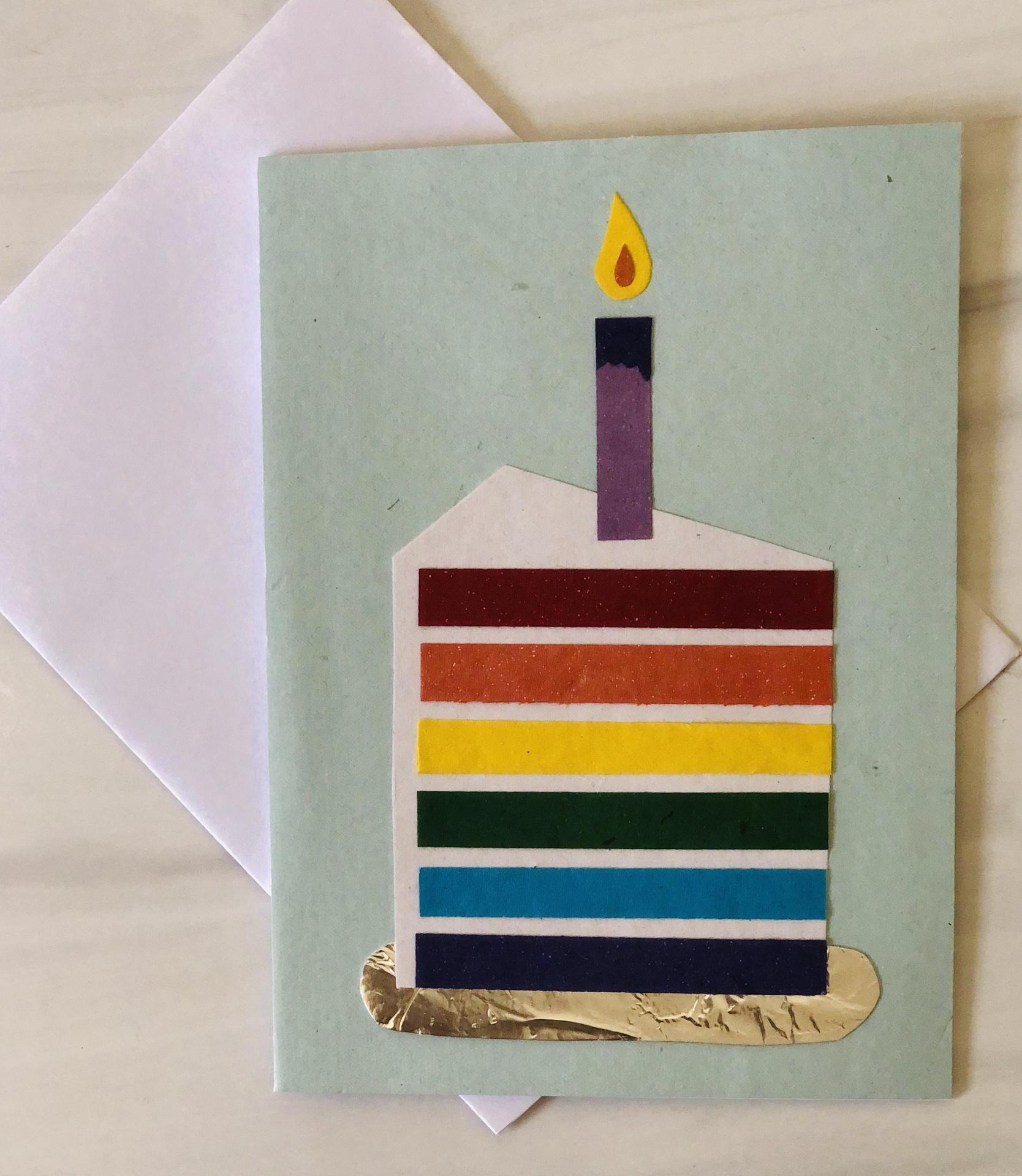 Rainbow Cake, Blank Greeting Card