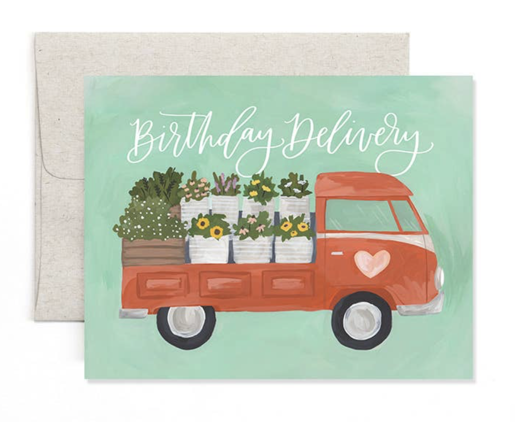 """""""Birthday Delivery"""" Truck, Blank Greeting Card"""