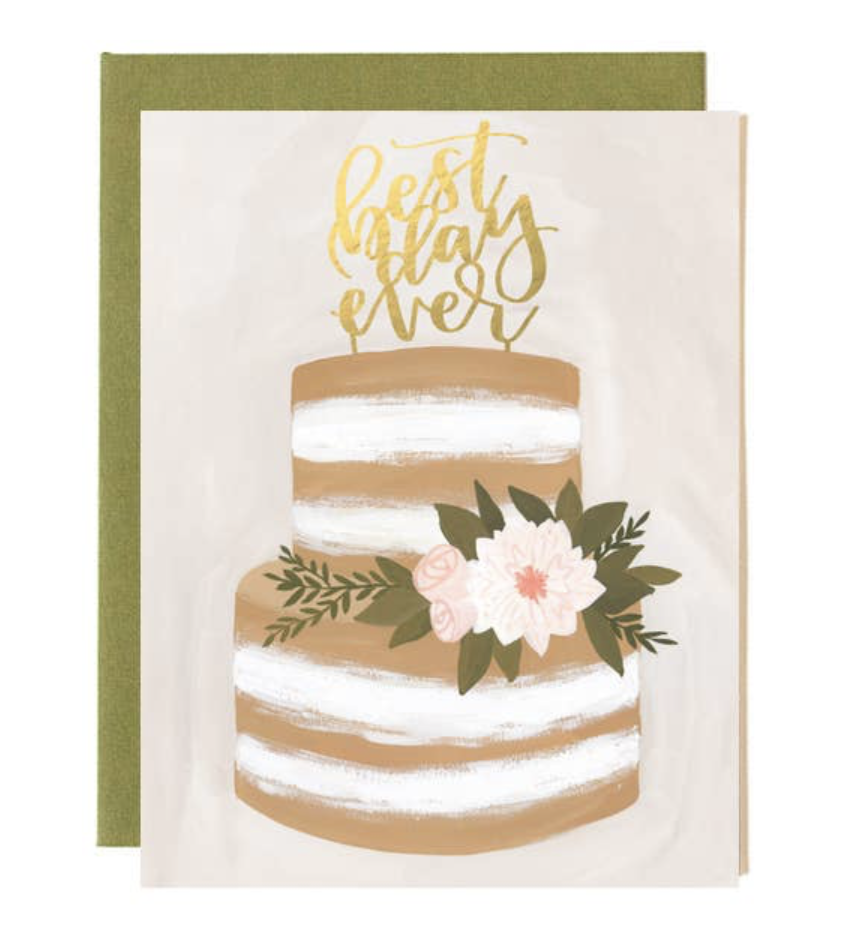 """best day ever"" Wedding Cake, Blank Greeting Card"
