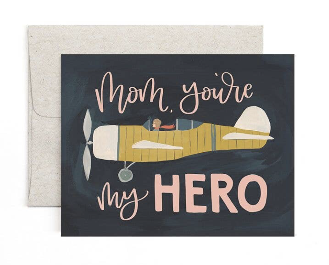 """Mom Hero,"" Blank Greeting Card"