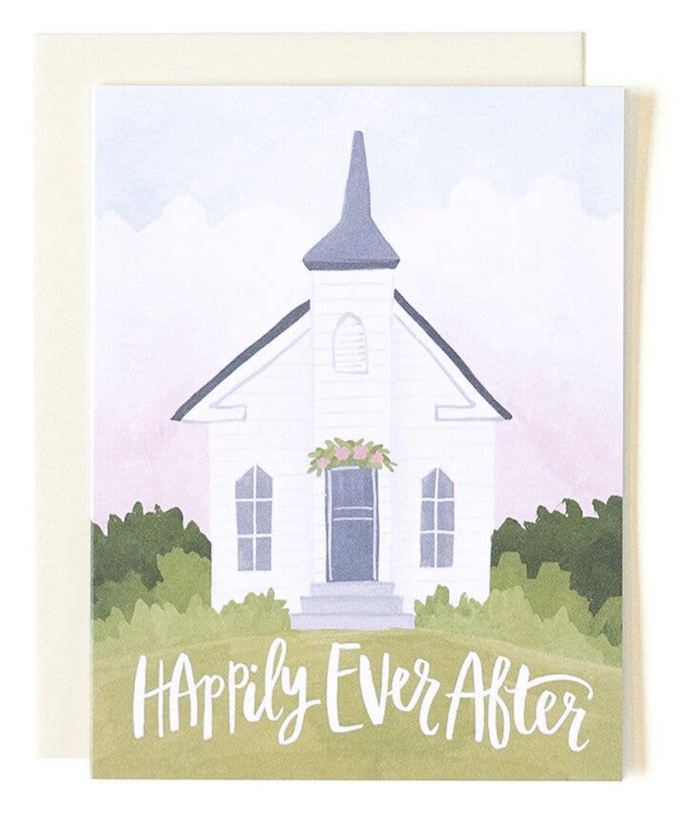 """""""Happily Ever After"""" Chapel, Blank Greeting Card"""