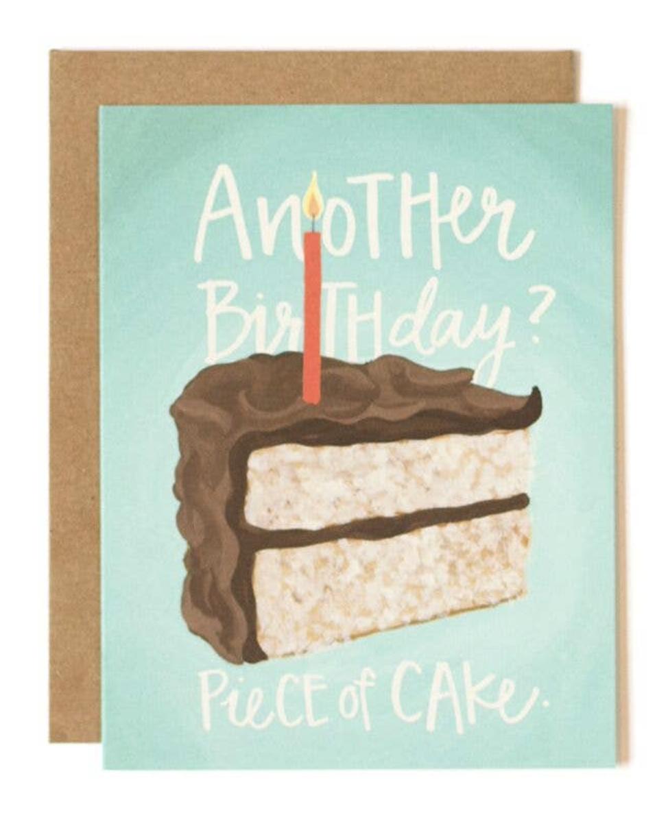 """Piece of Cake"" Birthday, Blank Greeting Card"