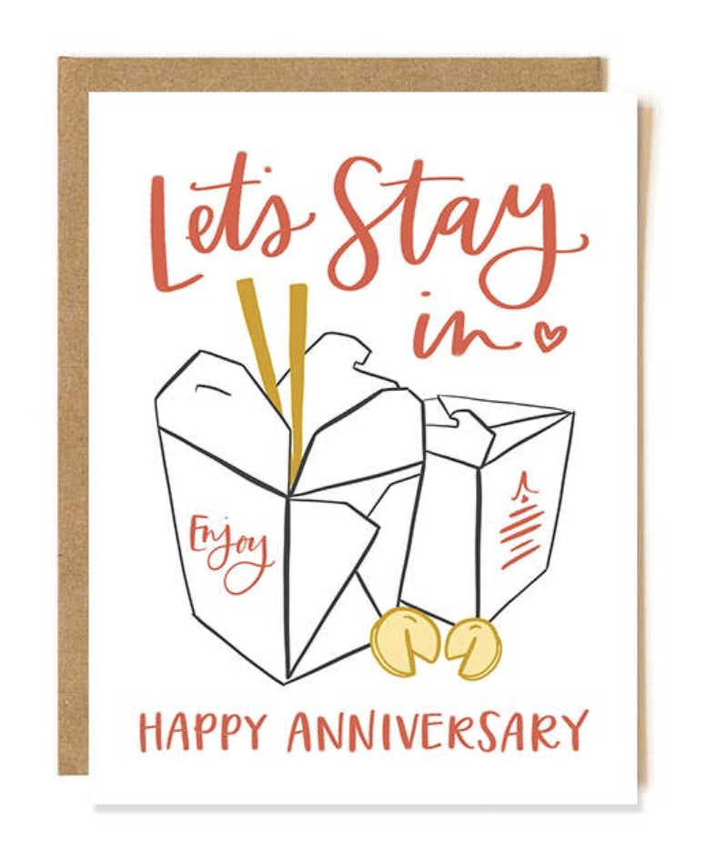 """""""Let's Stay In: Happy Anniversary,"""" Blank Greeting Card"""