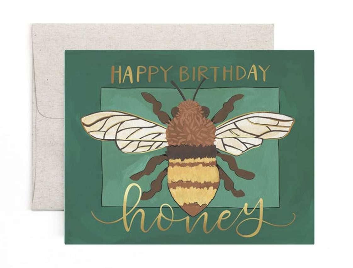 """HBD Honey,"" Blank Greeting Card"