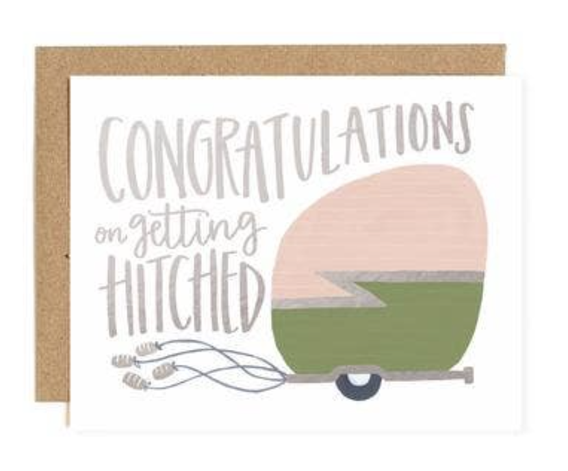 """""""Getting Hitched"""" Wedding Trailer, Blank Greeting Card"""