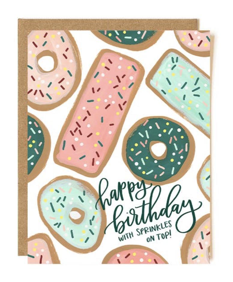 """HBD Sprinkles on Top,"" Blank Greeting Card"