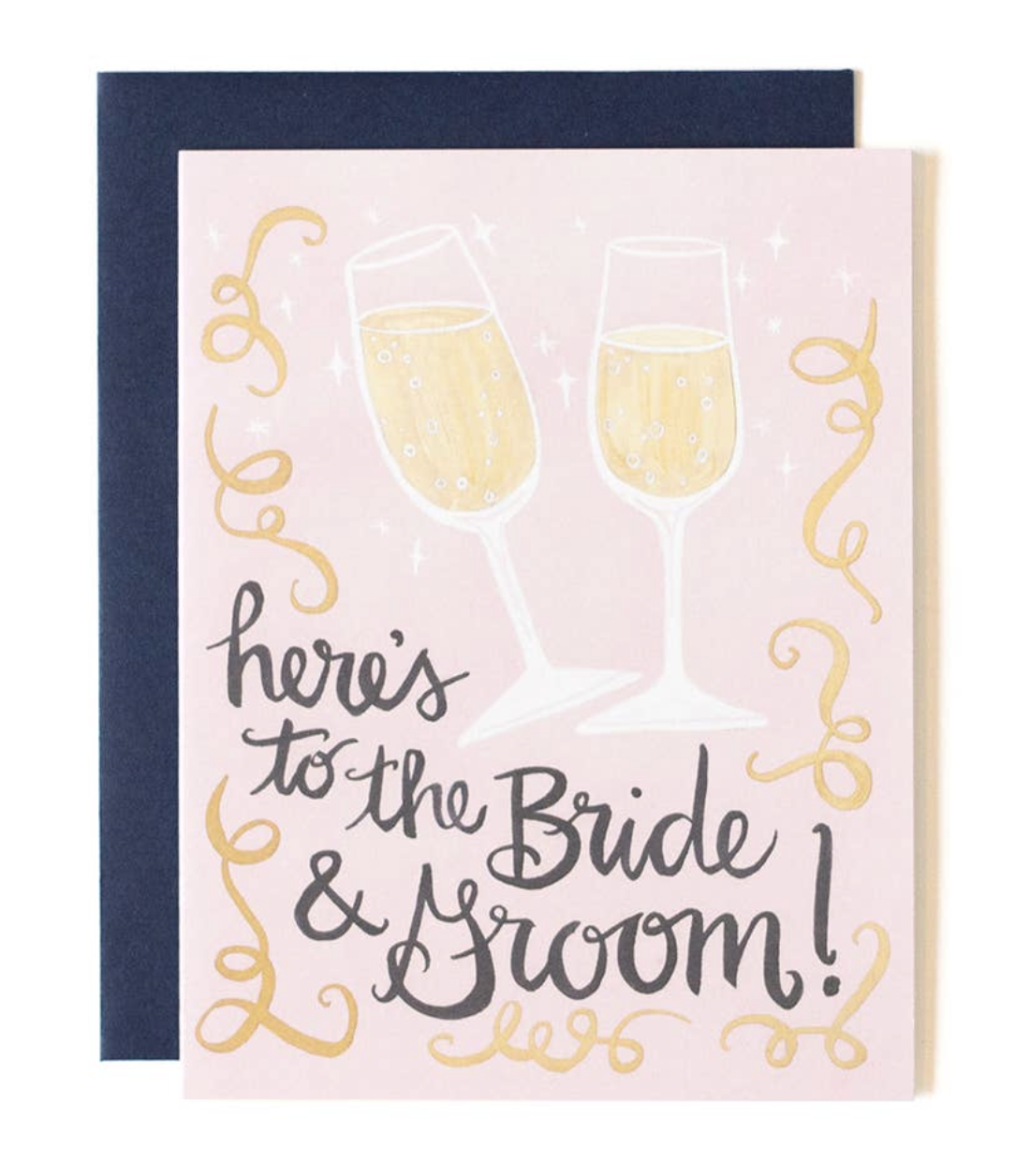 """""""here's to the bride & groom,"""" Blank Greeting Card"""