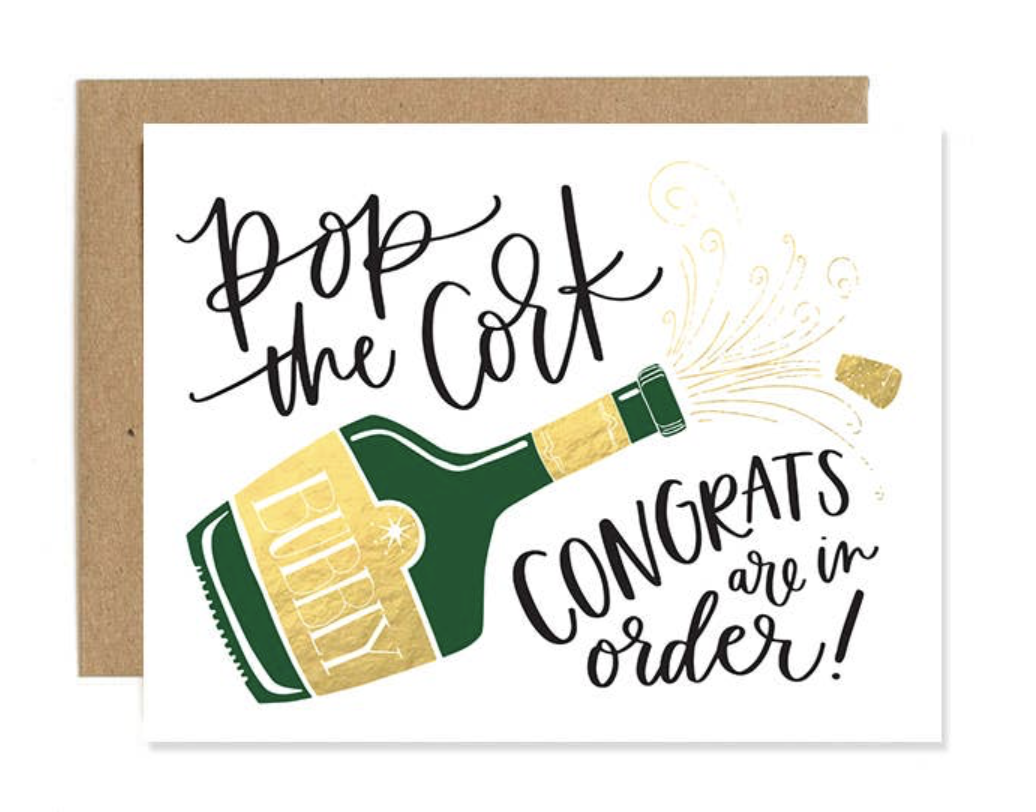 """Pop the Cork, Congrats,"" Blank Greeting Card"