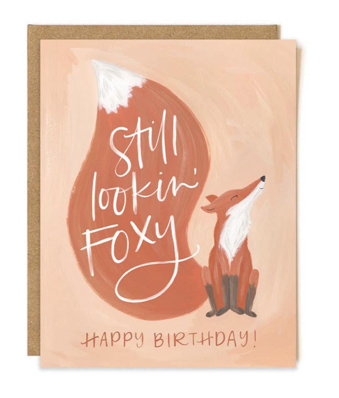 Foxy Birthday, Blank Greeting Card