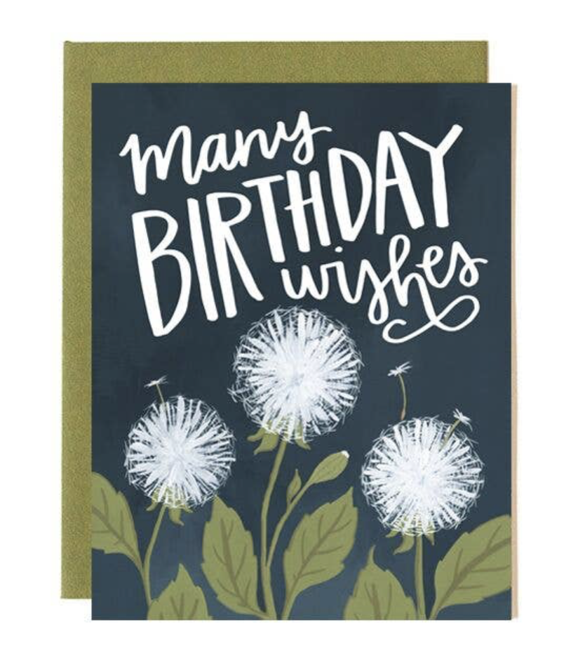 "Dandelion ""Birthday Wishes,"" Blank Greeting Card"