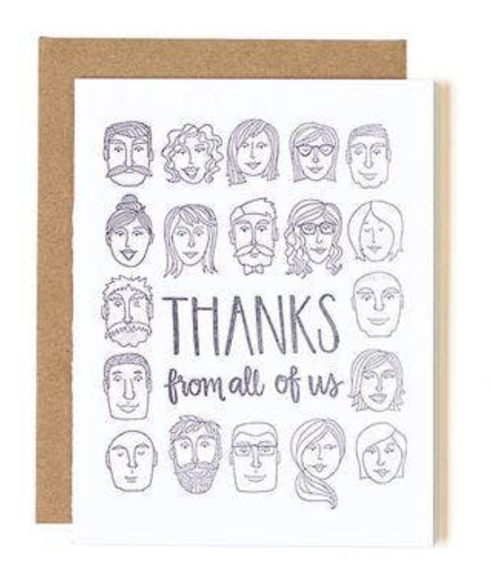 """Thanks from All,"" Blank Greeting Card"