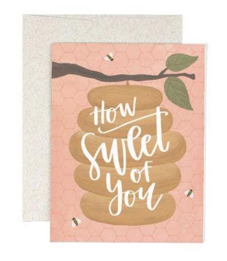 """Sweet of You"" Beehive, Blank Greeting Card"