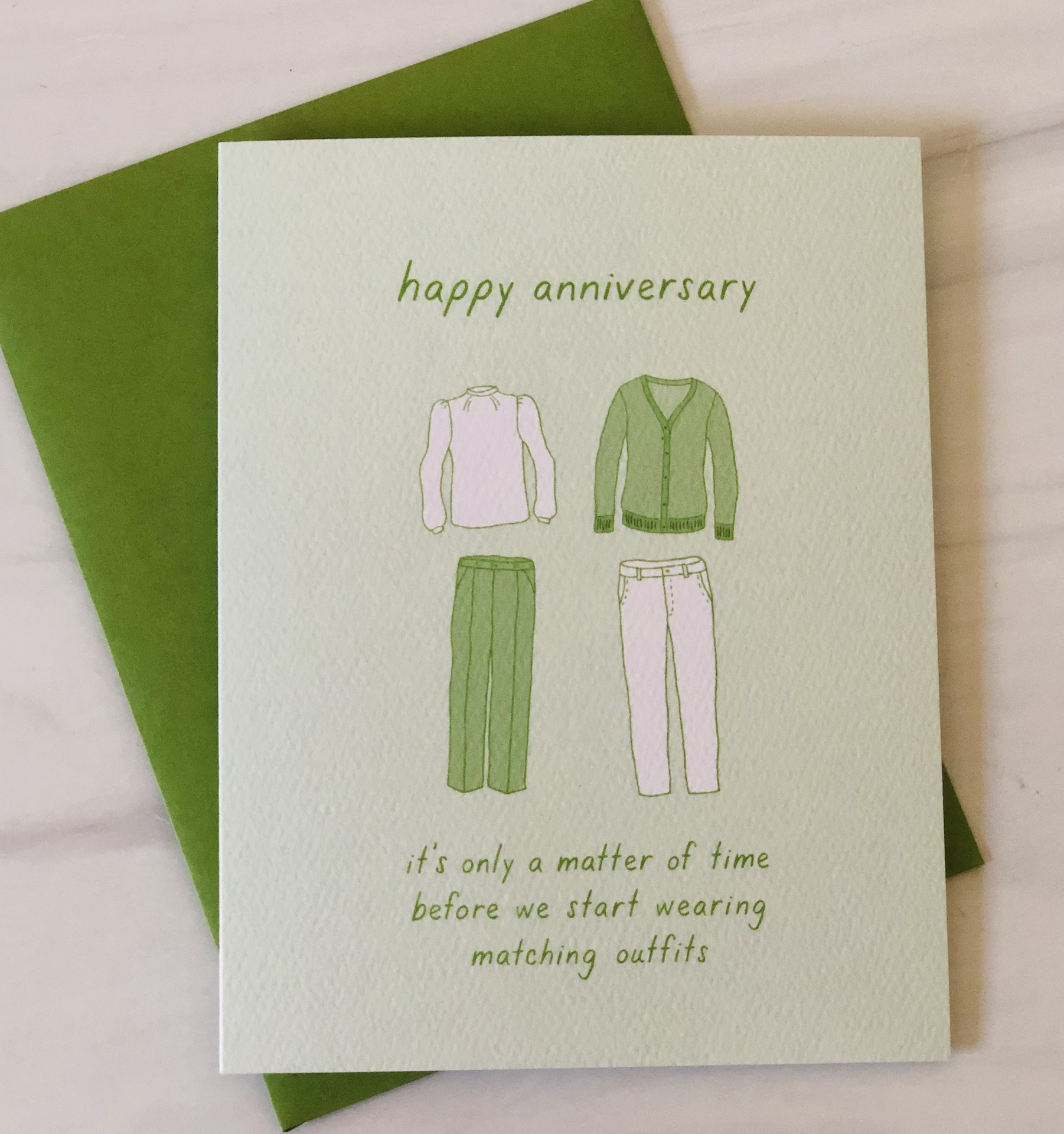 Matching Outfits Anniversary, Blank Greeting Card
