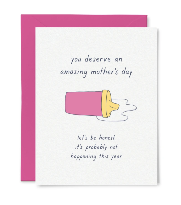 Spilled Milk Mother's Day, Blank Greeting Card