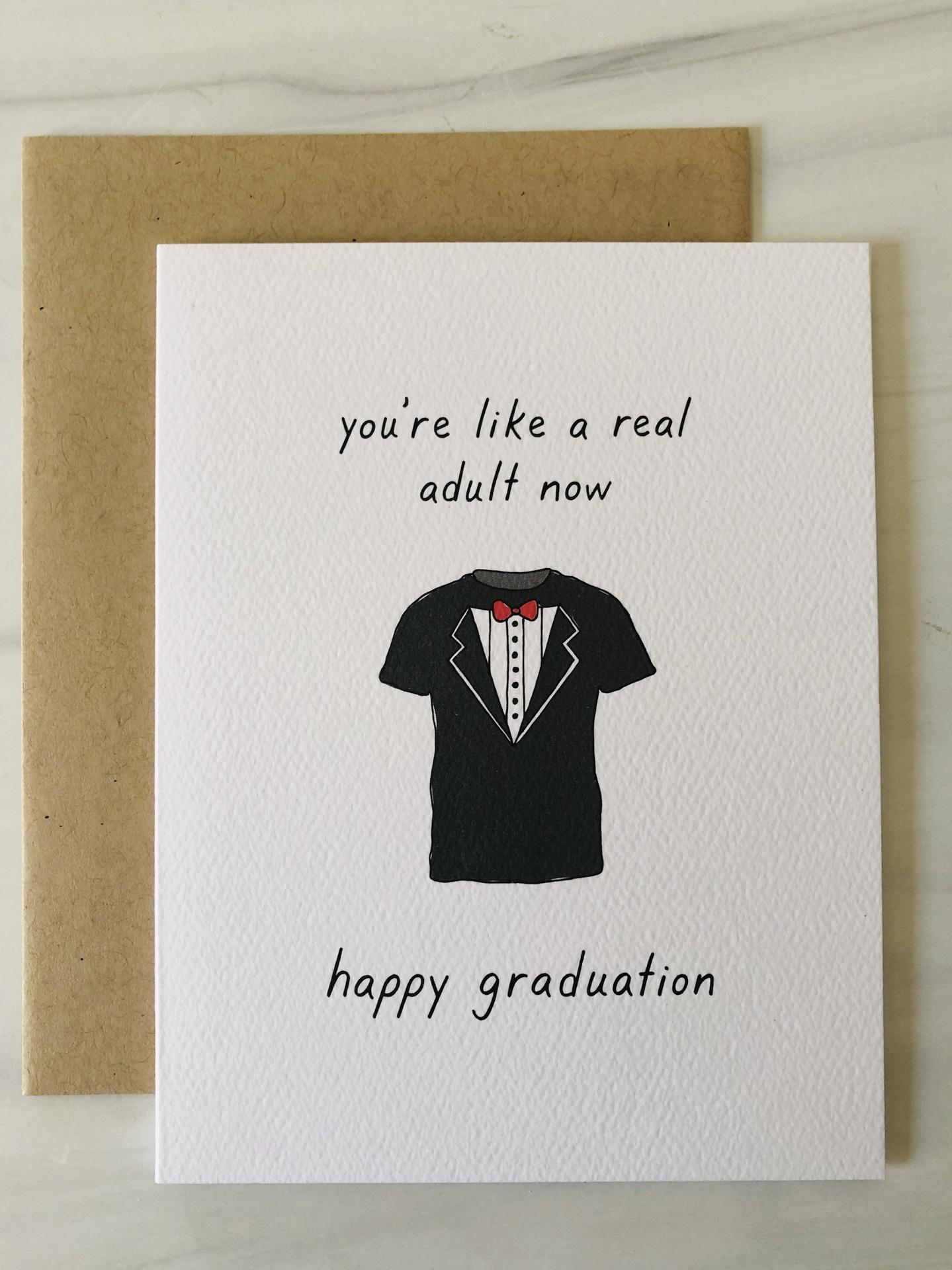 Tuxedo Shirt Graduation, Blank Greeting Card