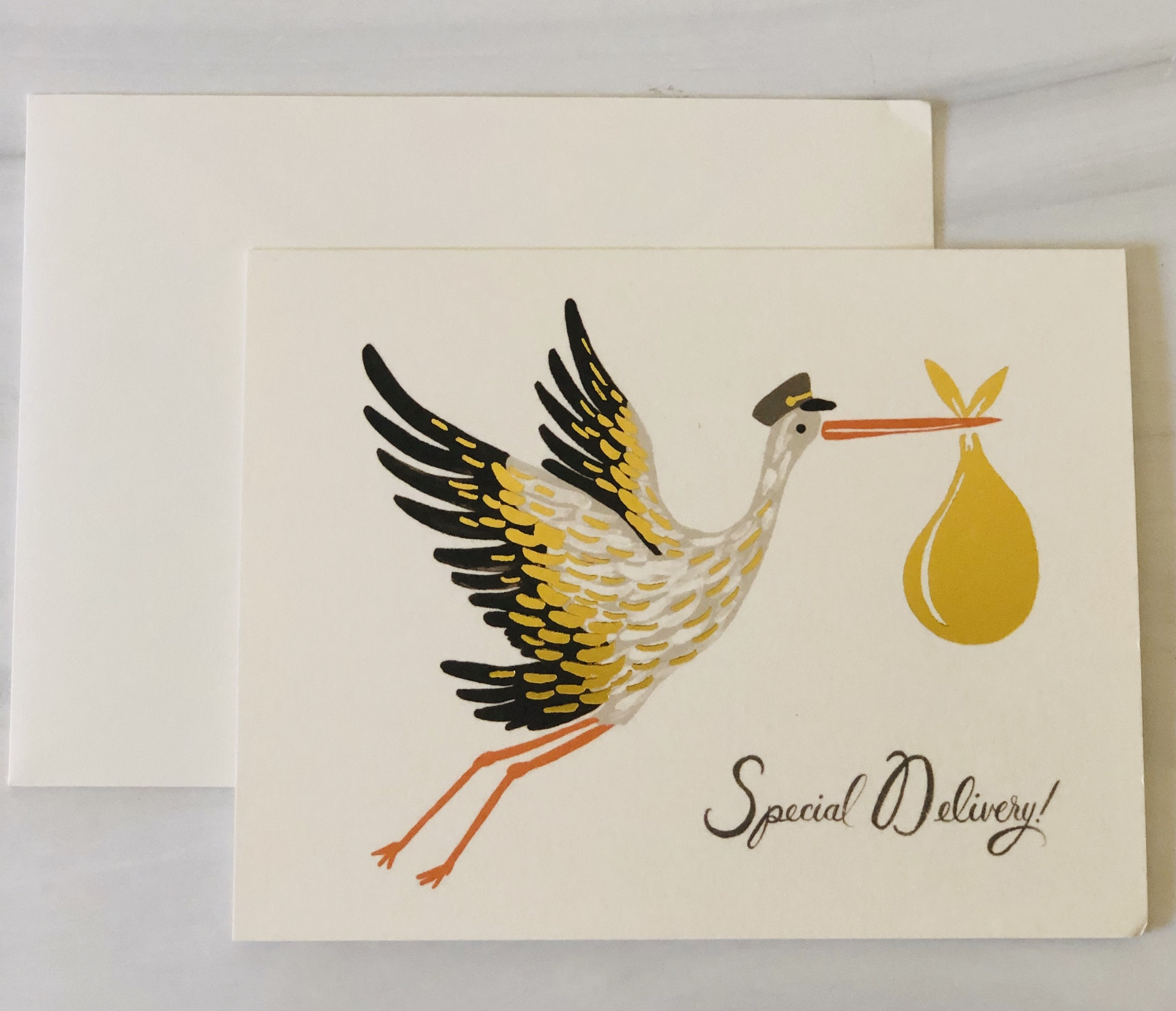 """""""Special Delivery"""" Stork, Rifle Paper Co. Blank Greeting Card"""