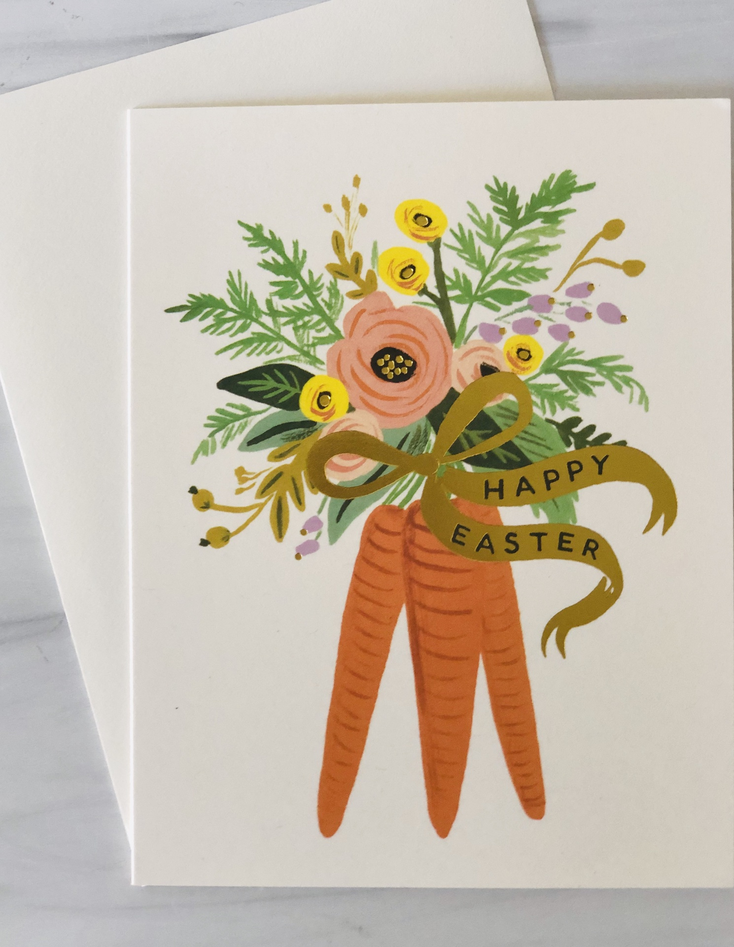 """Happy Easter,"" Carrot Bunch, Rifle Paper Co. Blank Greeting Card"