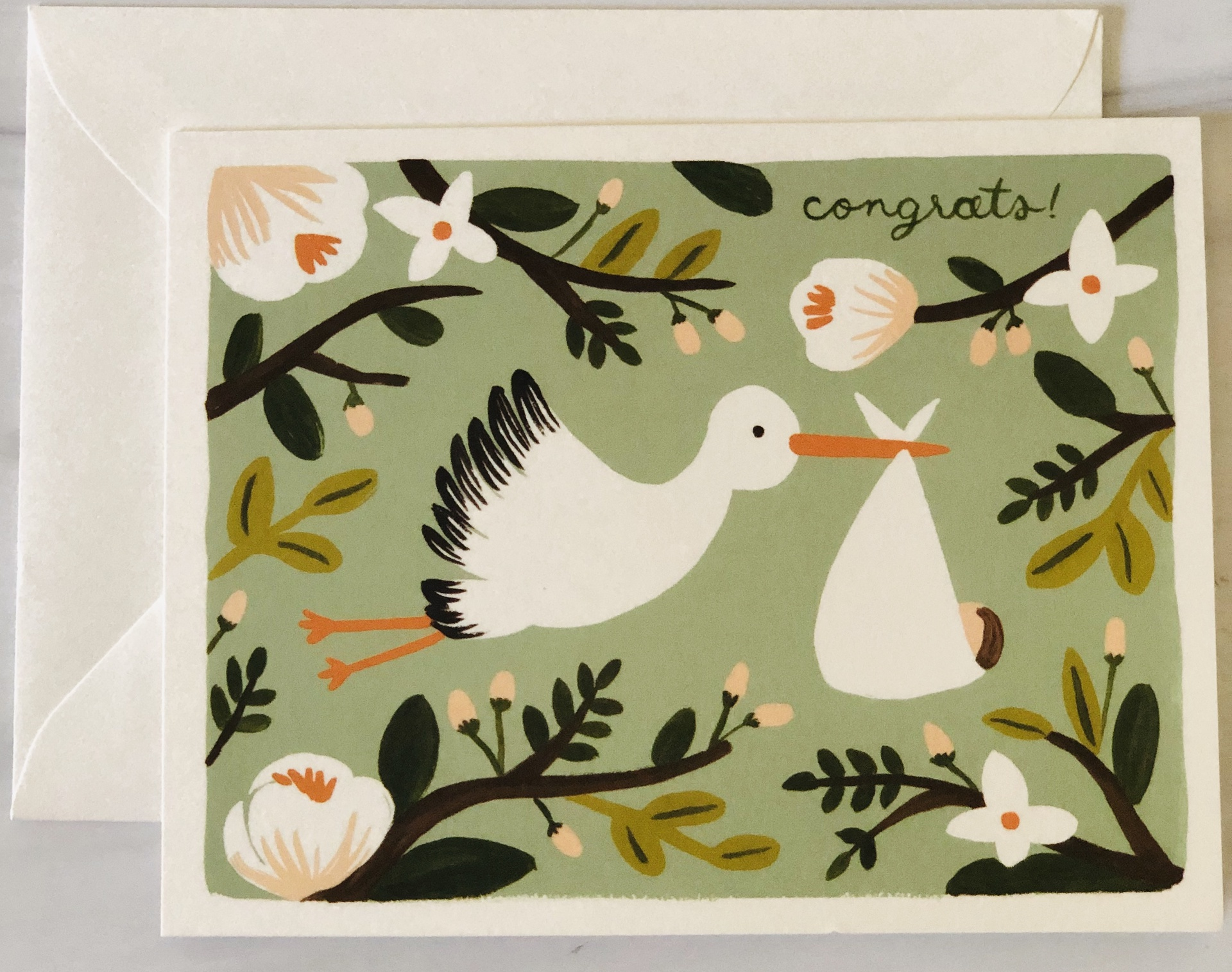 """""""Congrats,"""" Stork, Rifle Paper Co. Blank Greeting Card"""