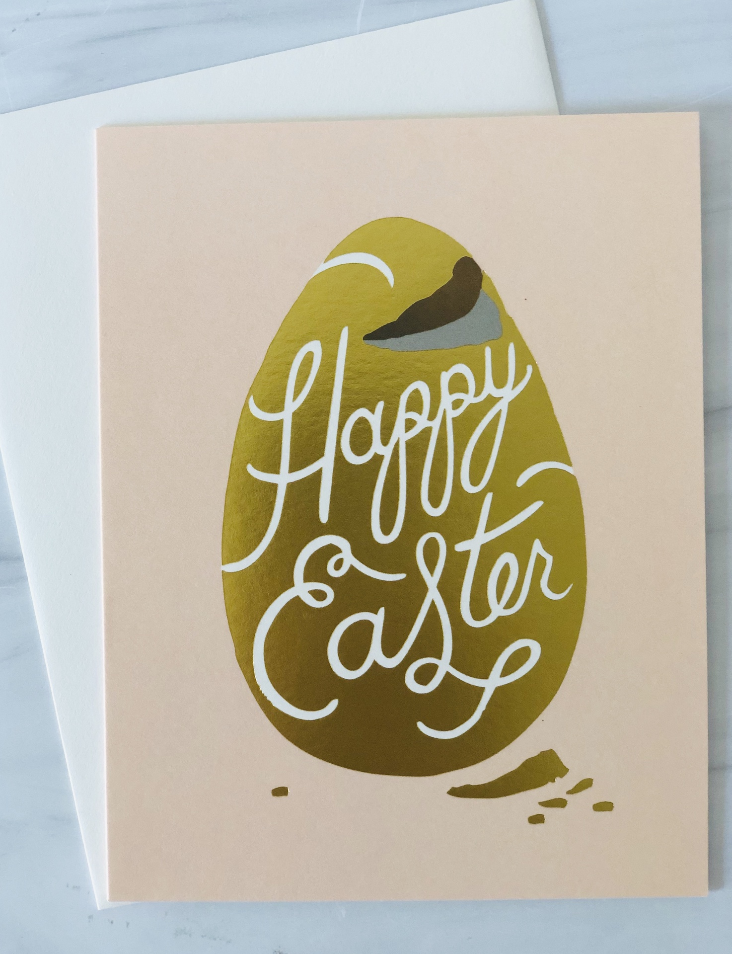 """""""Happy Easter,"""" Golden Chocolate Egg, Rifle Paper Co. Blank Greeting Card"""