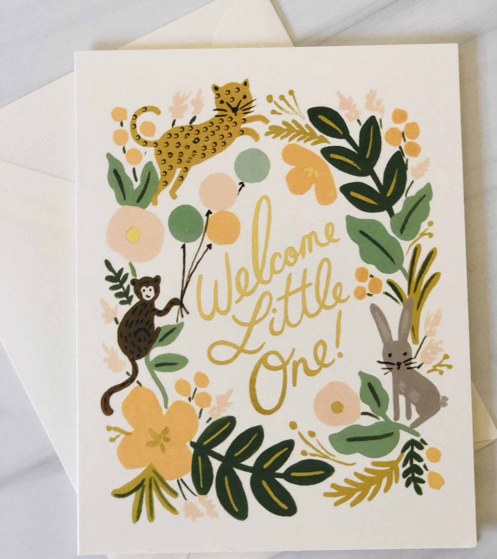 """Welcome Little One,"" Rifle Paper Co. Blank Greeting Card"