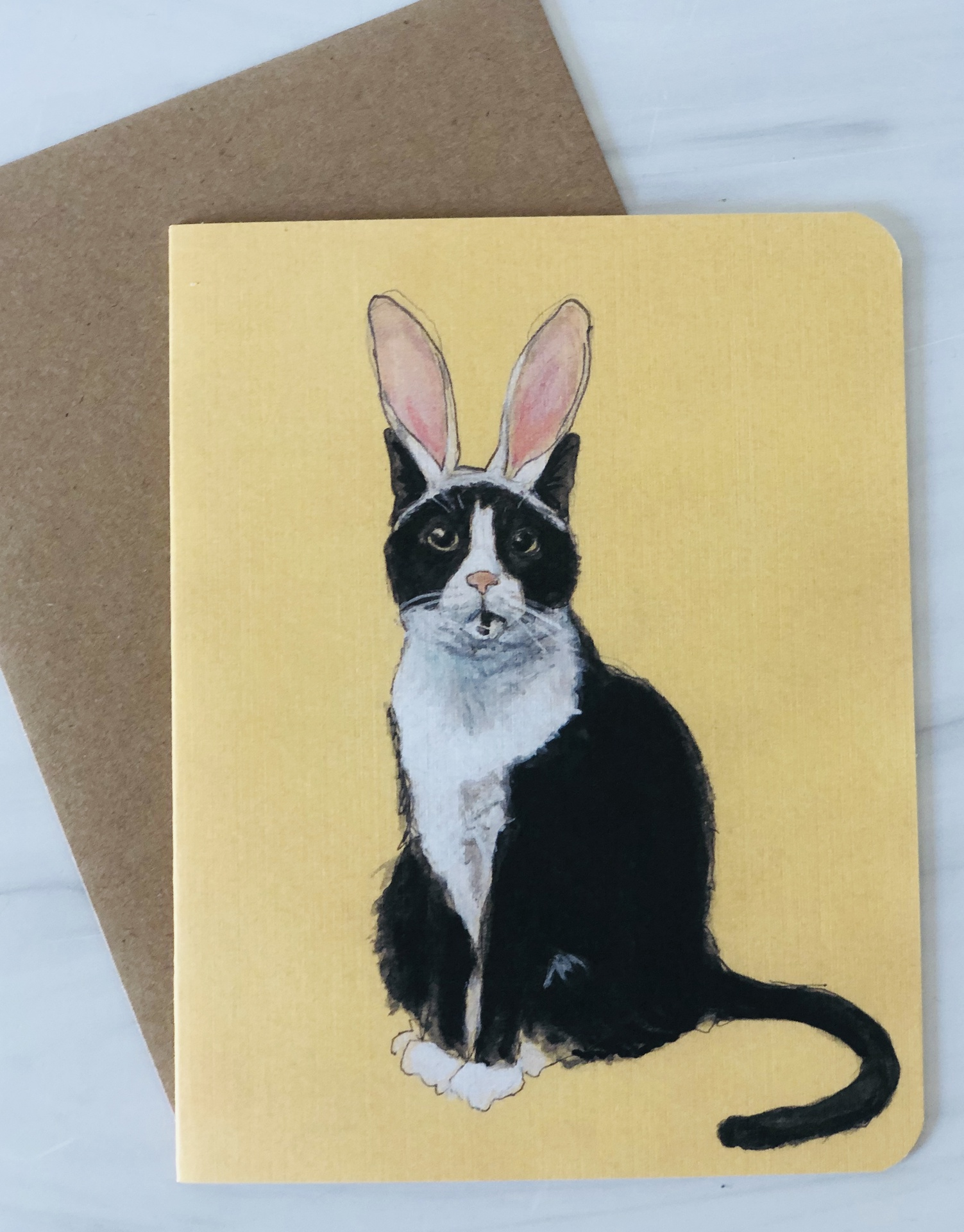 Bunny Cat, Blank Greeting Card