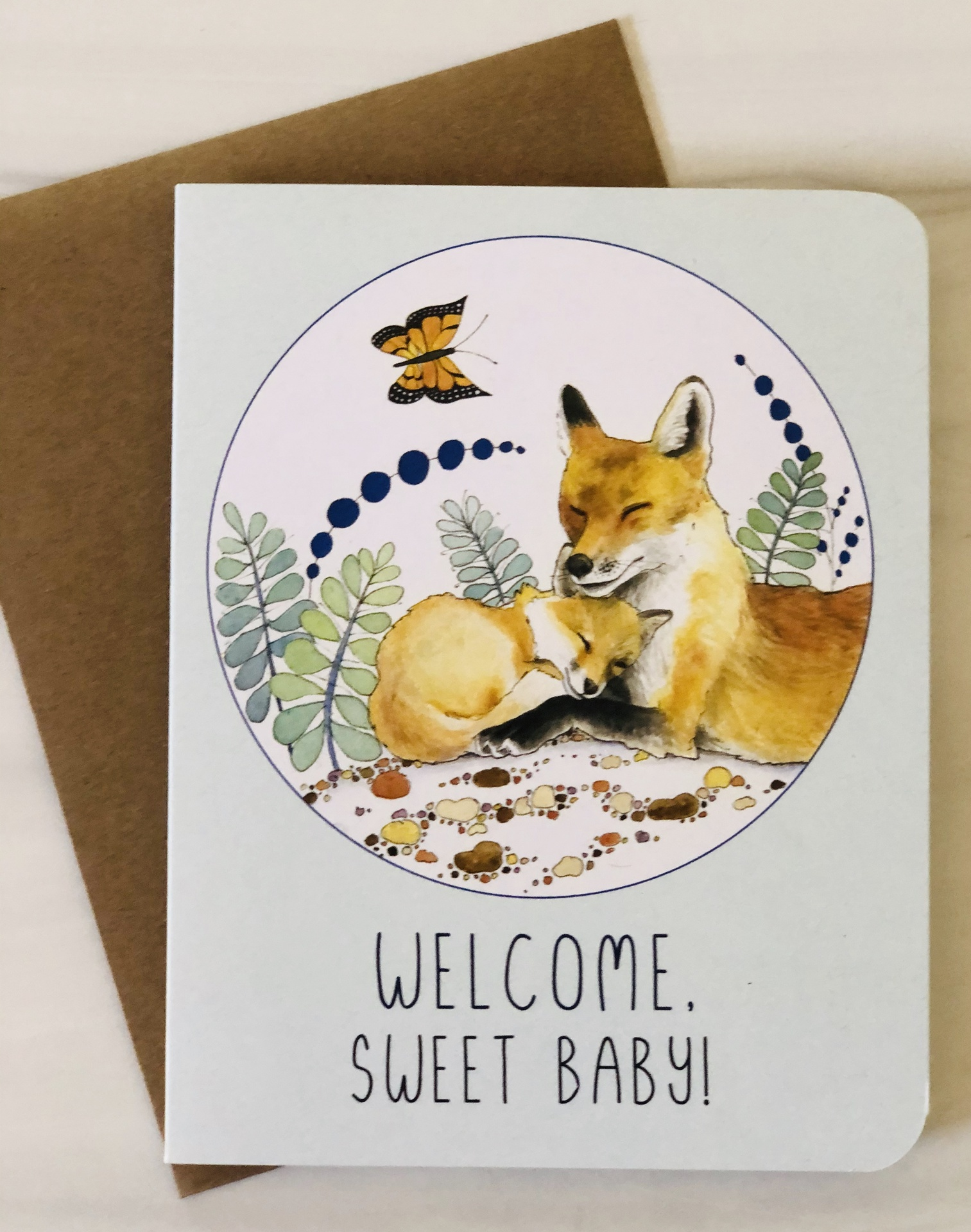 """""""Welcome Sweet Baby,"""" Foxes, Blank Greeting Card"""