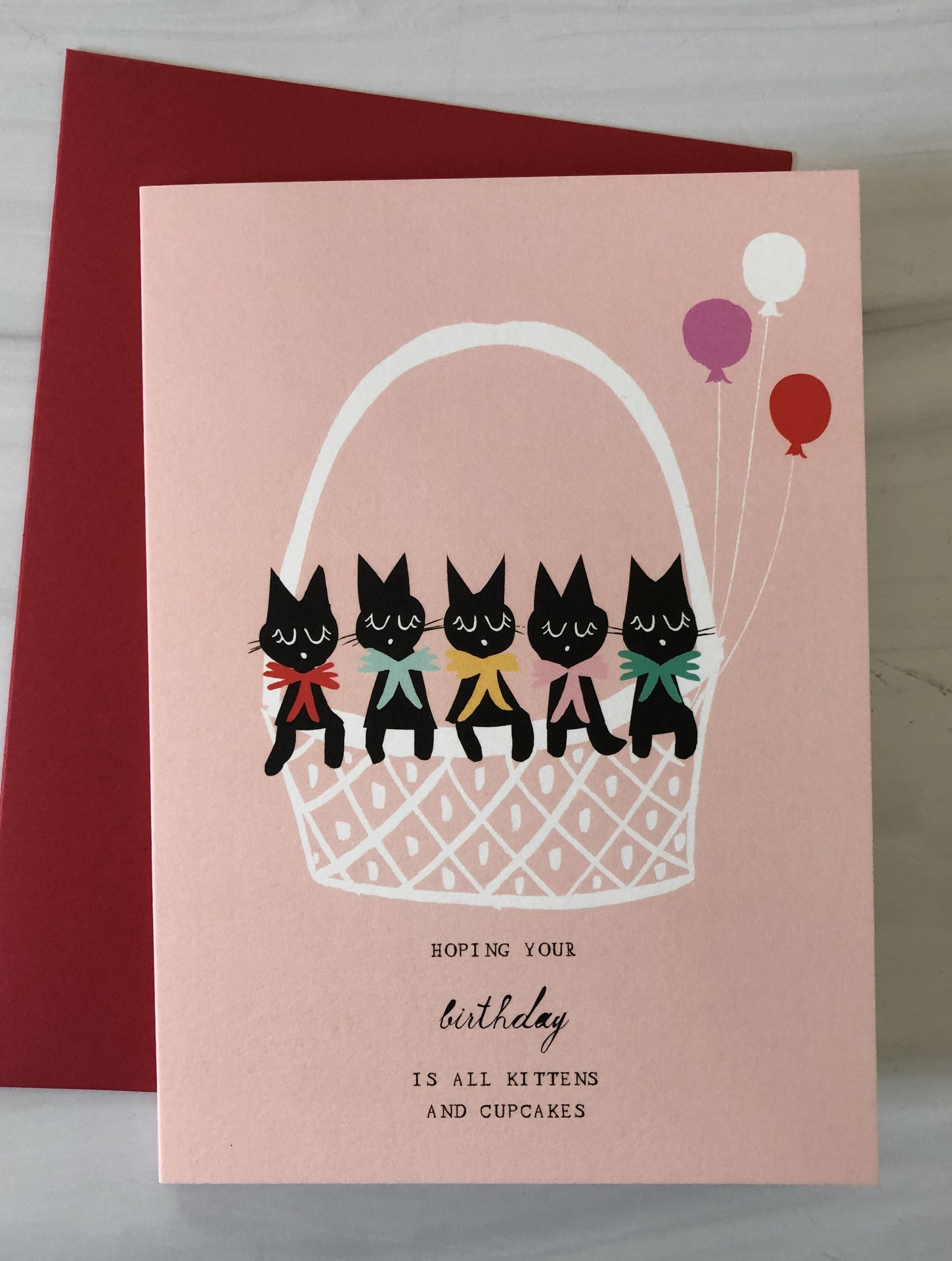 Kittens & Cupcake Birthday, Blank Greeting Card