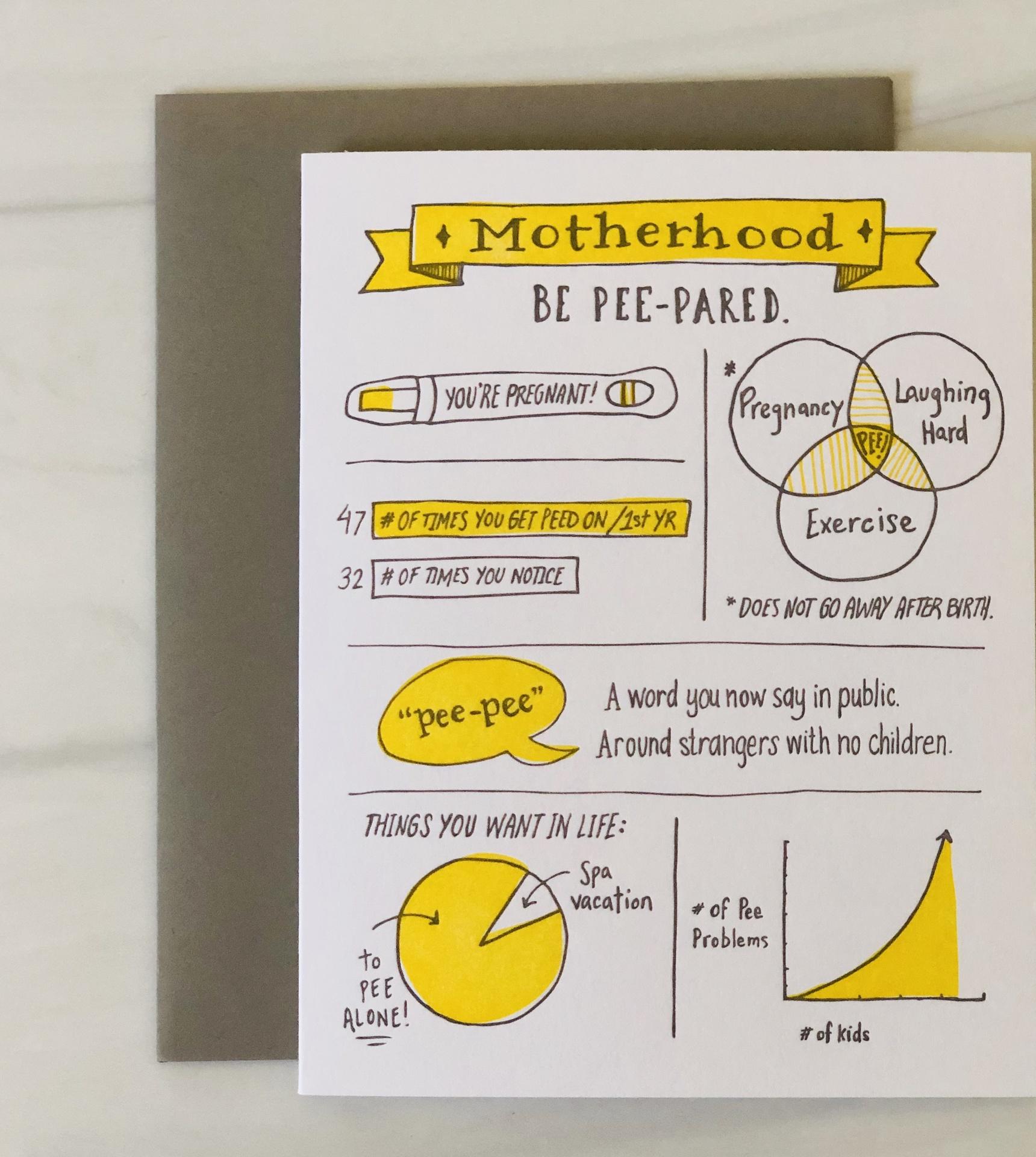 """Be Pee-Pared,"" Motherhood Blank Greeting Card"