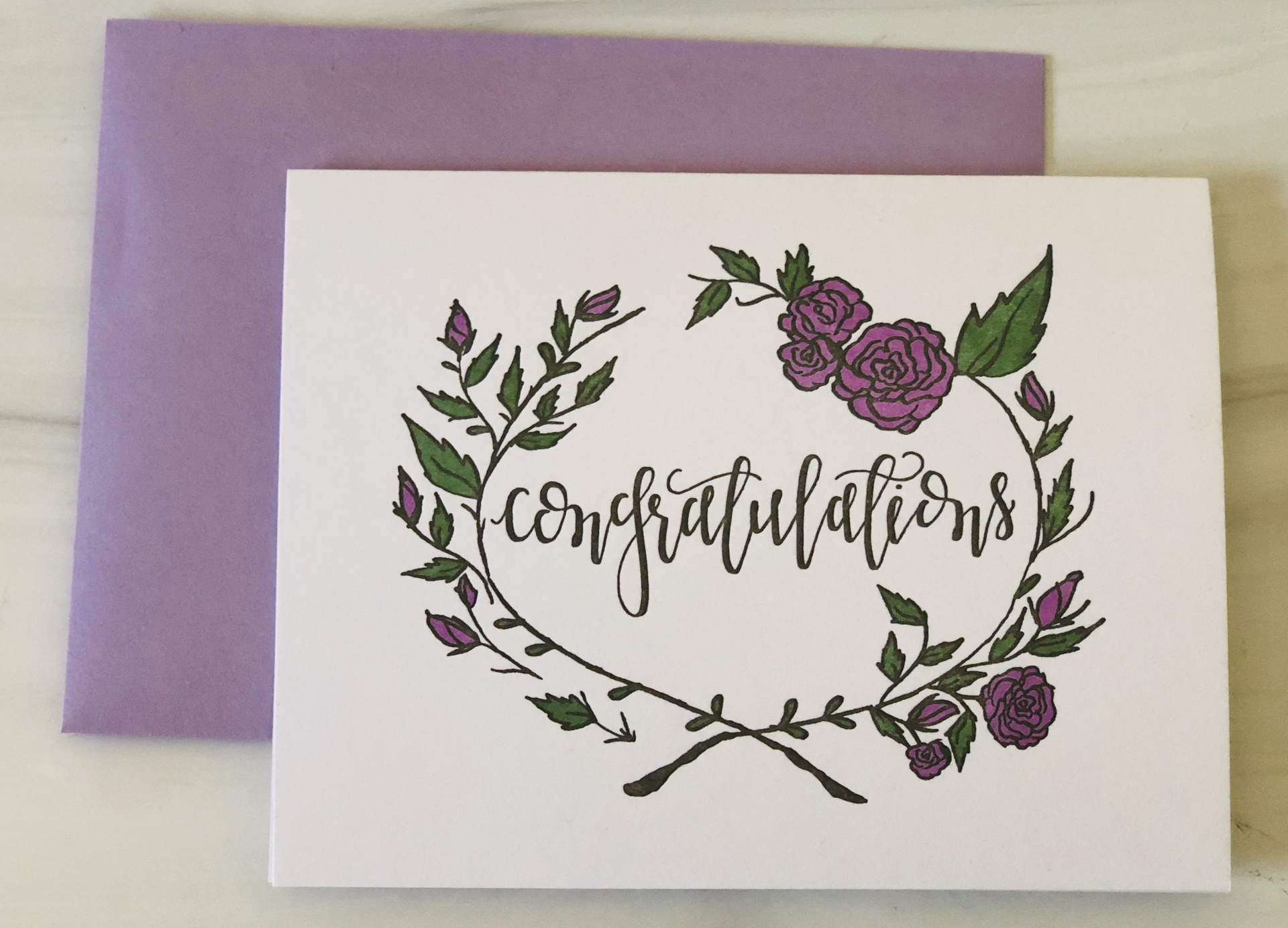 """""""Congratulations,"""" Floral Wreathe, Blank Greeting Card"""