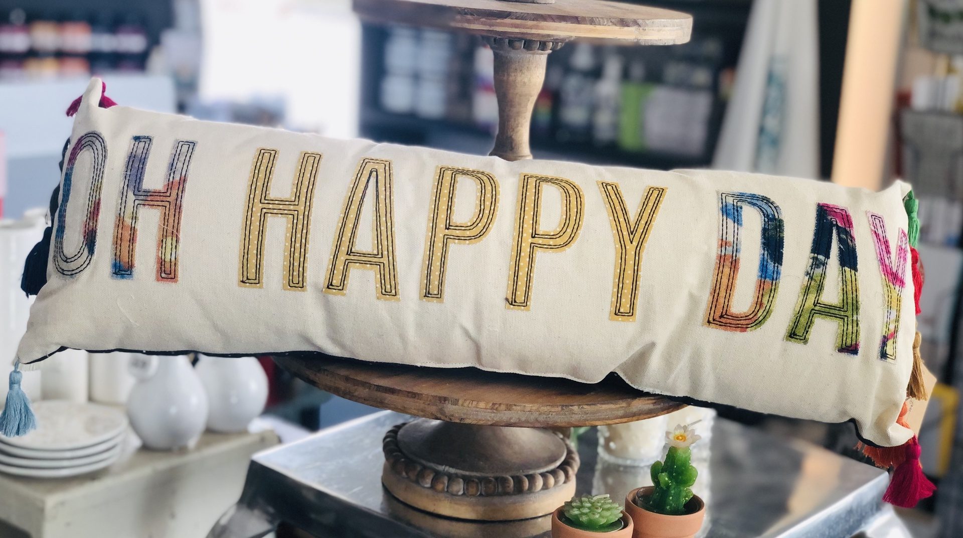 """""""Oh Happy Day"""" Long Tassel Pillow, 22""""x7"""""""