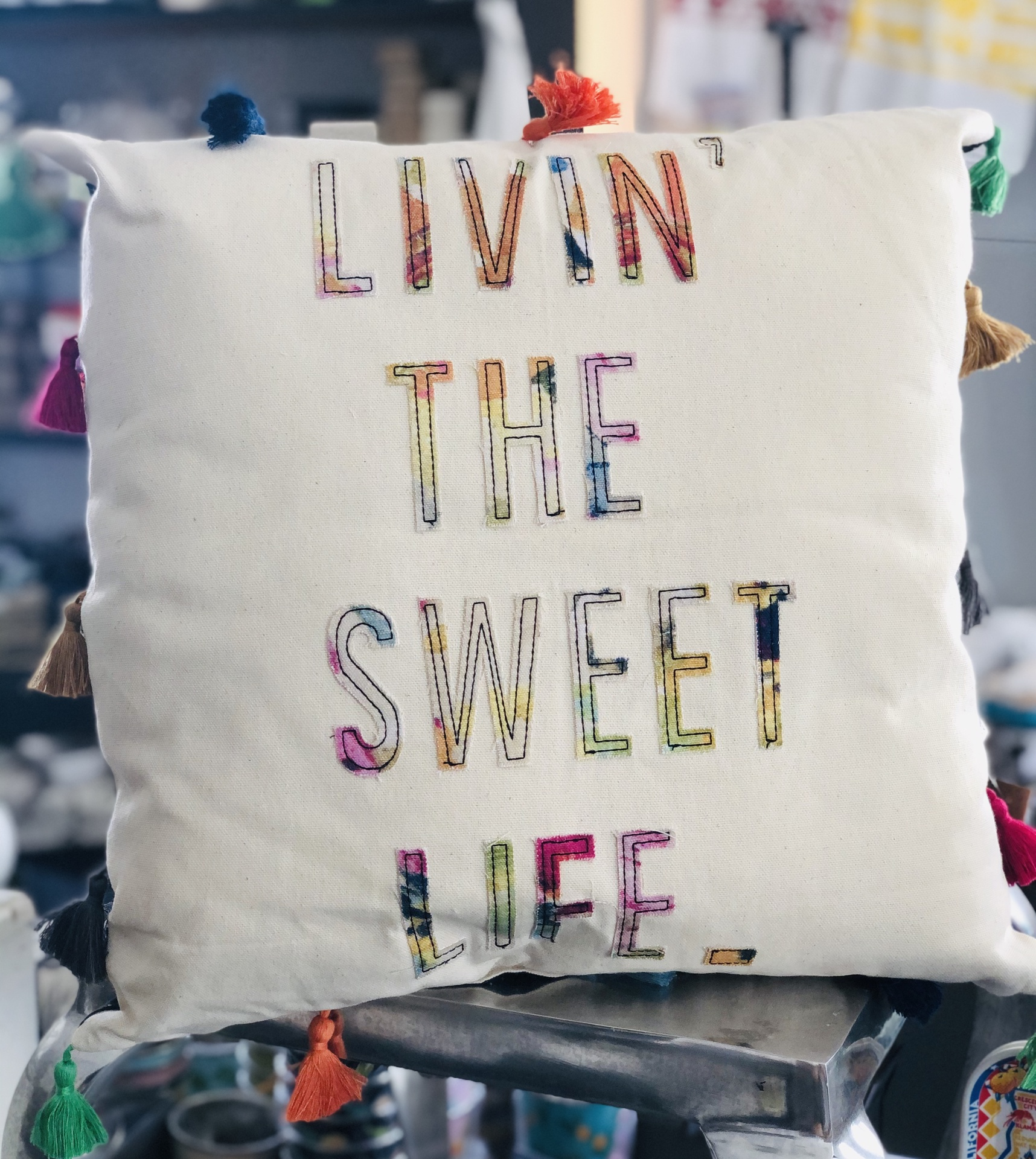 """Livin' the Sweet Life"" Tassel Pillow, 16""x16"""