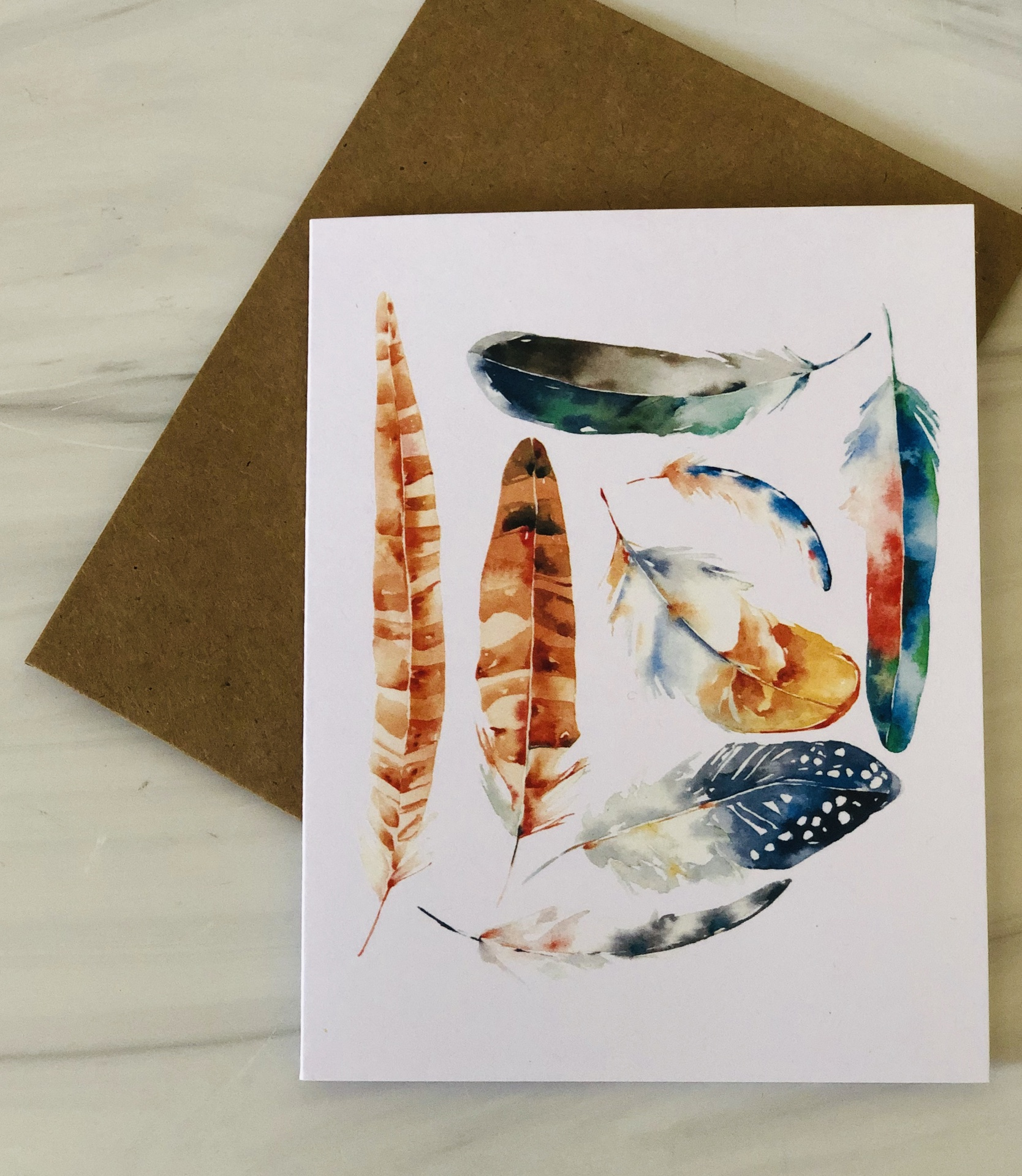 Feathers, Blank Greeting Card