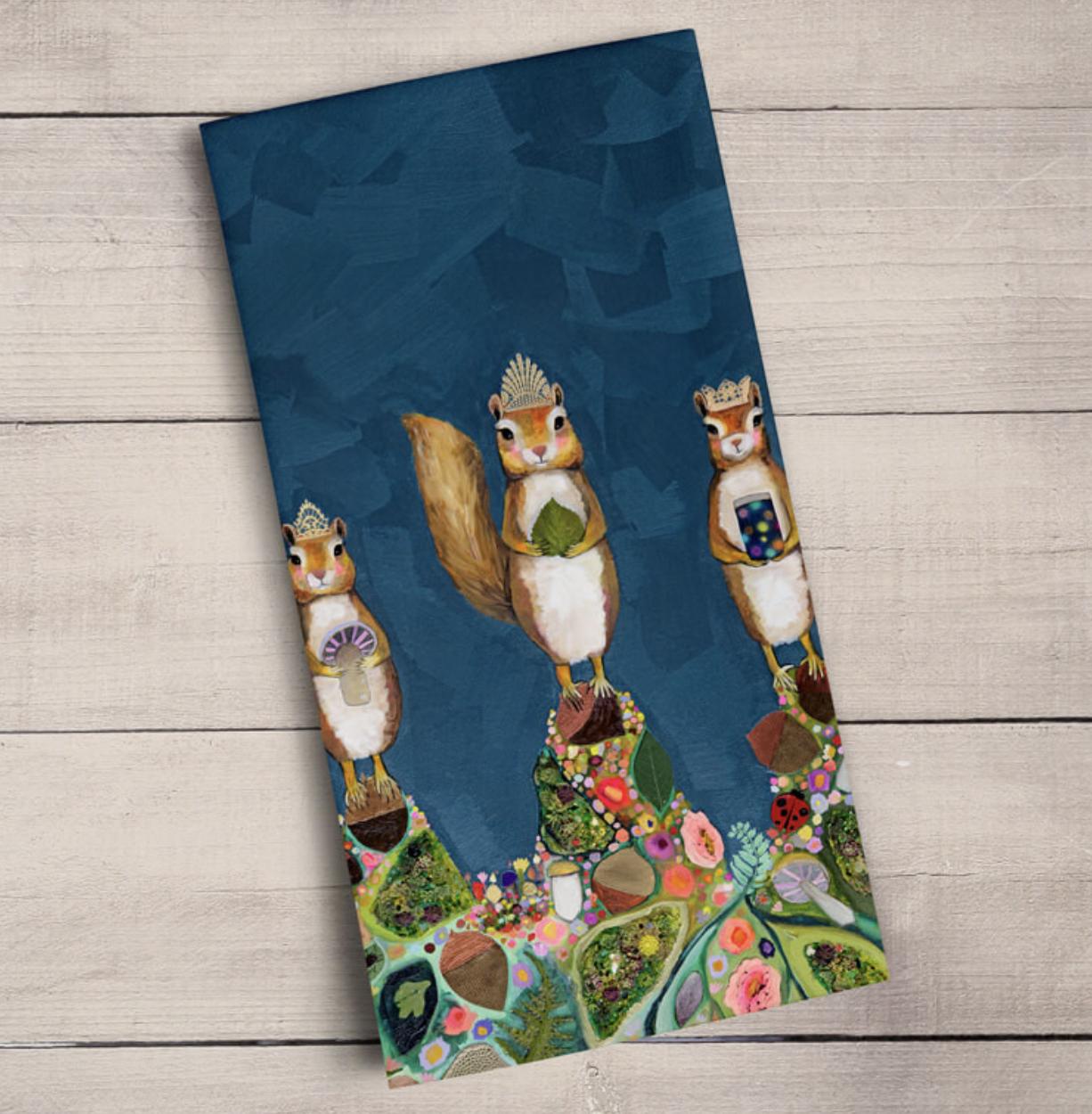 Squirrel Royale Tea Towel