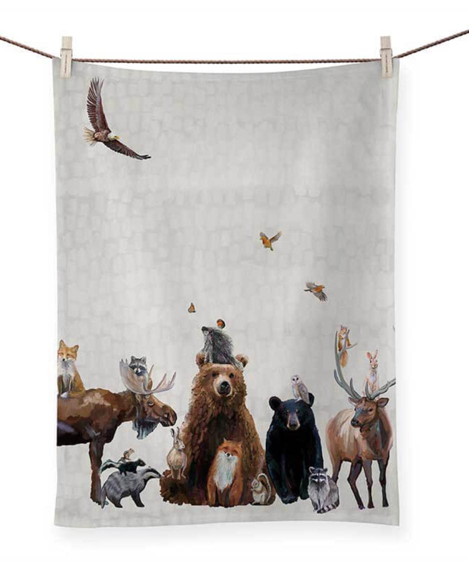Woodland Bunch Tea Towel
