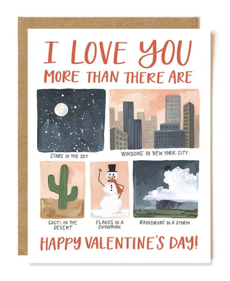 """""""Love You More"""" Valentine's Day, Blank Greeting Card"""