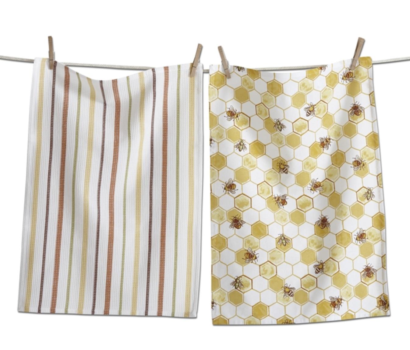 Bee Hive Dish Towel, Set/2