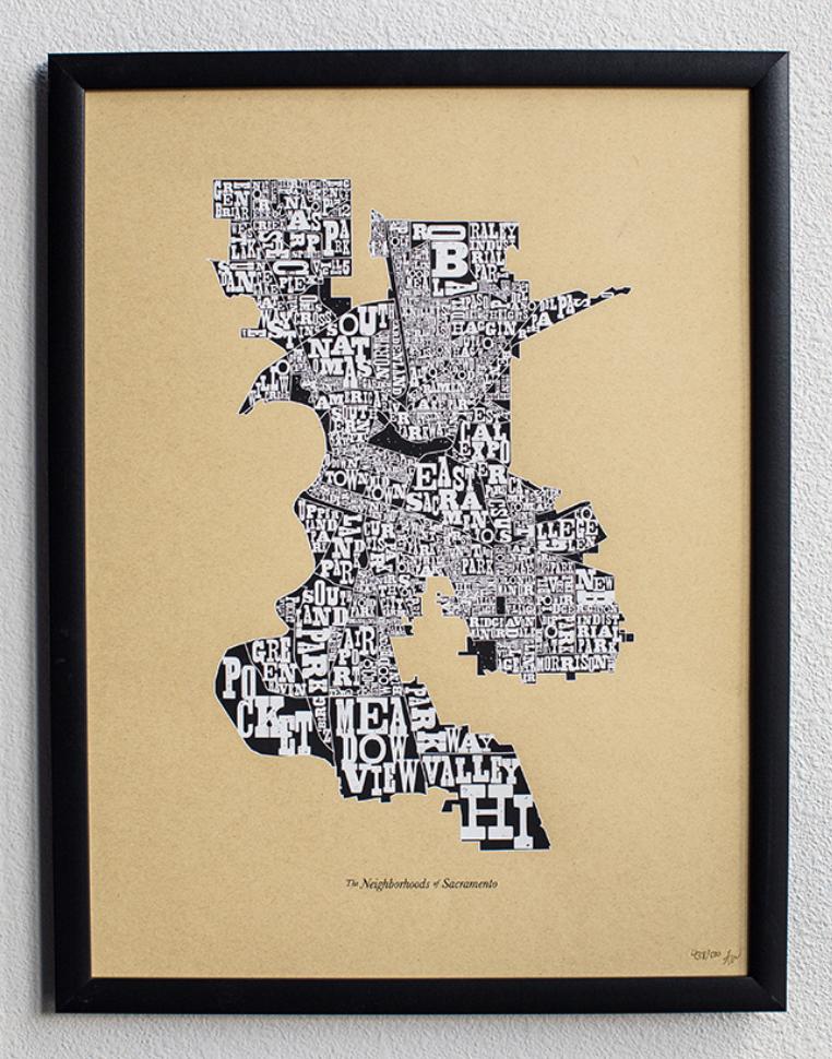 Neighborhoods of Sacramento, 1st Edition,  Art Print, UNFRAMED