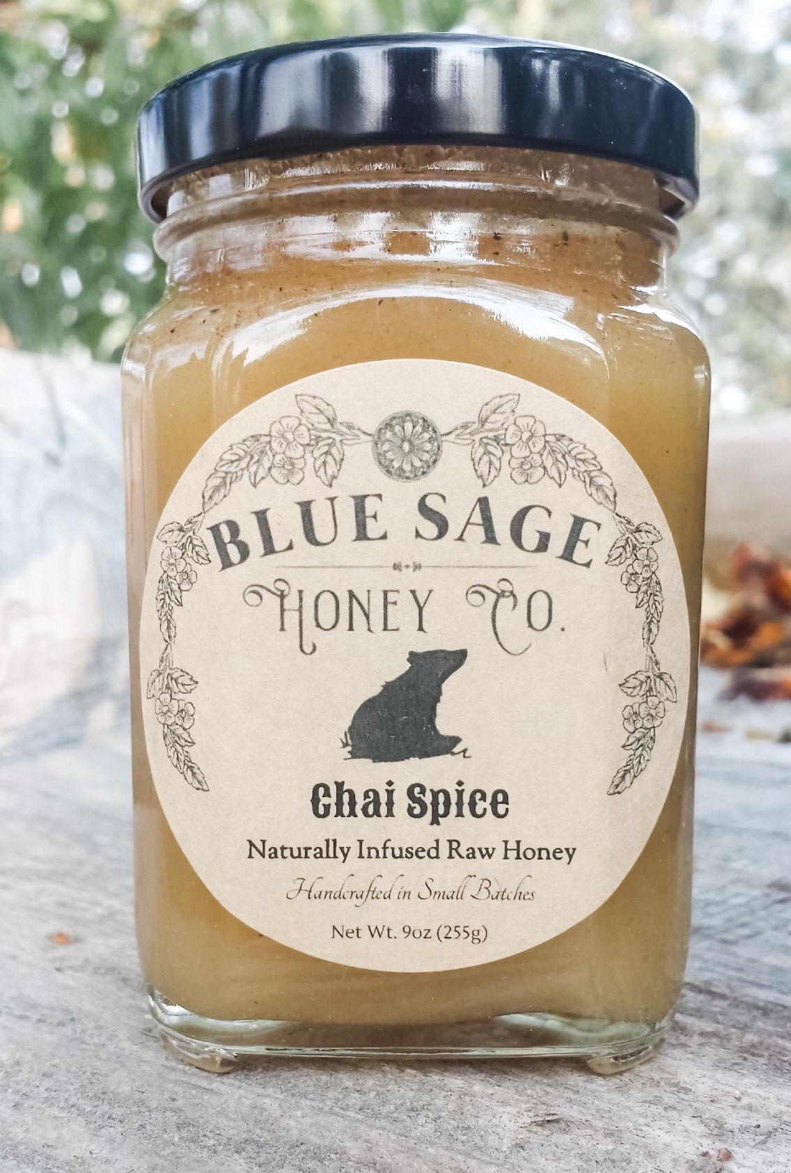 Blue Sage Honey, Infused Raw Honey 9oz