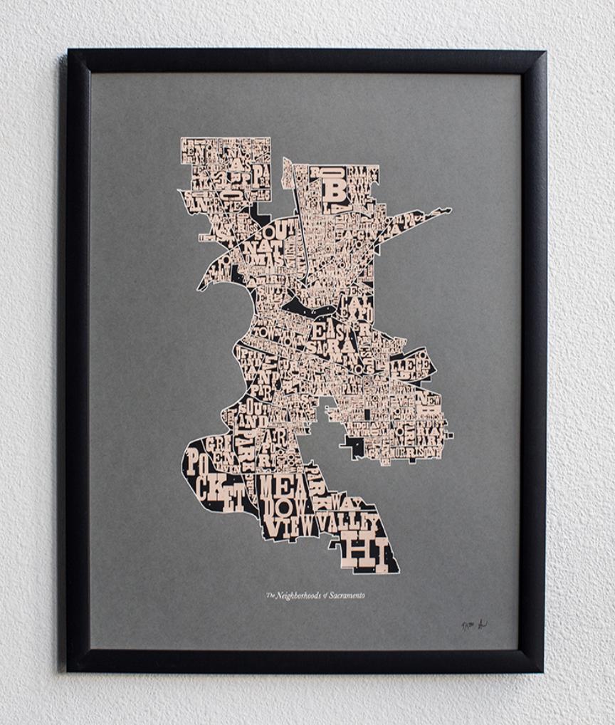 Neighborhoods of Sacramento, 2nd Edition, Art Print, UNFRAMED